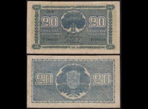 FINNLAND - FINLAND 20 MARKKA 1945 Litt. B PICK 78a F (4) Serie T (23652