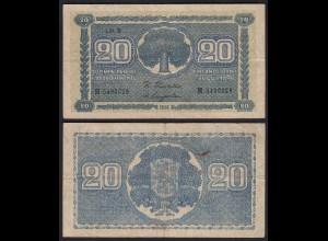 FINNLAND - FINLAND 20 MARKKA 1945 Litt. B PICK 78a VF (3) Serie H (23653
