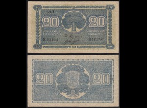 FINNLAND - FINLAND 20 MARKKA 1945 Litt. B PICK 78a VF- (3-) Serie H (23654