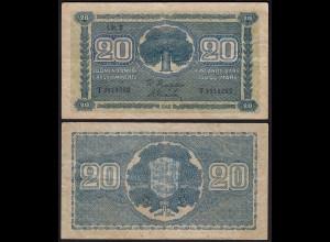 FINNLAND - FINLAND 20 MARKKA 1945 Litt. B PICK 78a VF (3) Serie T (23656