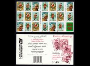 USA 1995 postfrisches Heftchen Selbstklebend Weihnachten Holiday (23667
