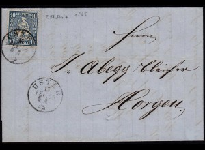 Schweiz 1865 schöner Brief v. USTER - HORGEN Sitzende Helvetia (23673
