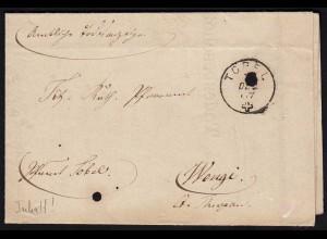 Schweiz 1867 Totenschein von TOREL - WENGE ü.MÄRSTETTEN (23674