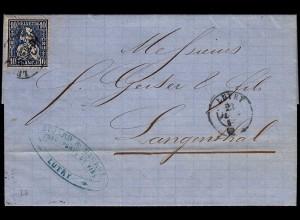 Schweiz 1864 schöner Brief v. LUTRY - LANGENTHAL Sitzende Helvetia (23678