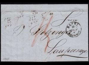 Schweiz 1855 Brief v.BASEL - LAUPERSWIL ü.LANGENAU Inhalt (23679