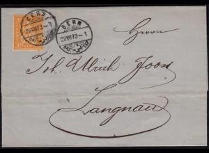 Schweiz 1873 schöner Umschlag v. BERN - LANGNAU Sitzende Helvetia (23685