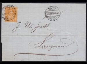 Schweiz 1870 Umschlag BERN nach LANGENAU 20 R. Sitzende Helvetia (23687