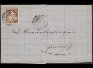 Schweiz 1877 Umschlag BURGDORF 5 R. Sitzende Helvetia (23689