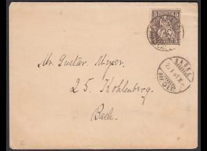 Schweiz 1881 Orts-Umschlag BASEL 5 R. Sitzende Helvetia (23690