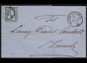 Schweiz 1863 Umschlag WÄDENSWEIL - ZÜRICH 10 R.Sitzende Helvetia (23691