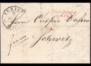 Schweiz 1841 Brief ZÜRICH Nach Abgang der Post nach Schwitz Inhalt (23692