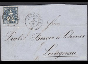 Schweiz 1863 schöner Umschlag v. BURGDORF - LANGNAU Sitzende Helvetia (23695