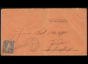 Schweiz 1880 Umschlag 5 R.Sitzende Helvetia BAZENHAID KIRCHBERG (23701