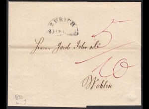 Schweiz 1833 Brief Zürich halbrund nach Wohlen Inhalt (23709