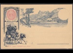Schweiz 1893 Jubiläums-Postkarte Ganzsache Pferdekutsche ungebraucht (23715