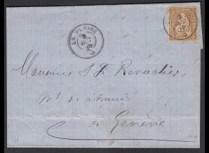 Schweiz 1870 Brief LA PLAINE (FR) nach GENF 5 R. Sitzende Helvetia (23716