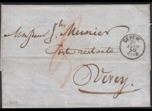 Schweiz 1858 Brief GENF nach VEVEY Inhalt (23718