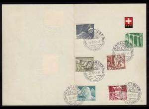 Schweiz 1952 SST ENGELBERG SST Karte m. Dauermarken (23719