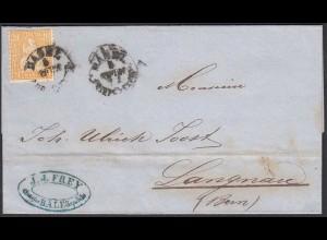 Schweiz 1863 Umschlag 20 R.Sitzende Helvetia Basel - Langenau (23721