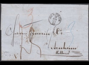 Schweiz 1862 MENZIKEN K1 nach ARNHEIM m.Durchgangsstempel (23727