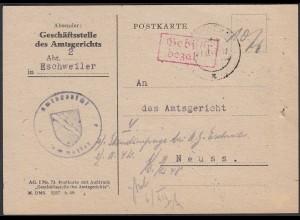 1948 Eschweiler Gebühr bezahlt rot Amtsgericht nach Neuss (23730