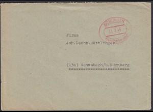1946 Böblingen Gebühr bezahlt rot Oval nach Schwabach (23731