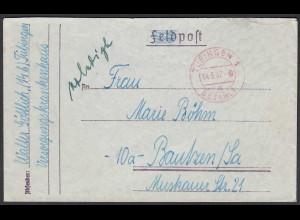1947 Tübingen 1 - bezahlt rot K2 nach Bautzen (23733