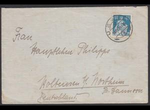 Schweiz 1921 Briefumschlag UZWIL nach Deutschland EF Mi.170 (23735