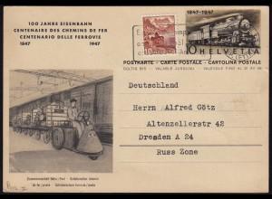 1947 EISENBAHN Schweiz 100 Jahre Ganzsache m.Zusatzfrankatur (23755