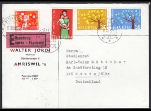 1962 Schweiz Amriswil Eilbrief nach Stade über Hamburg Flughafen (23784