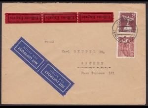 1956 Berlin LP-Express Mischfrankatur Bauten/Stadtbilder 60/25 Pfg. (23788