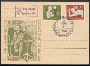 Pfadfinder Lagerpost Brexbachtal 1956 m. SST FDC 232/33 BRD (23833