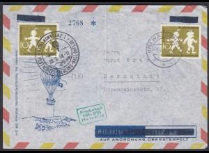 1958 Ballon-Post Konstanz Pestalozzi Freiballon HB-BIN Helvetia (23836