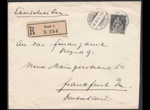 1921 Schweiz Switzerland Mi. 141 EF R-Brief Basel - Frankfurt (23848