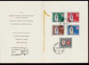 1957 Schweiz Zürich Musikfest 641-45 Rotes Kreuz/Pro Patria PTT Folder (23850