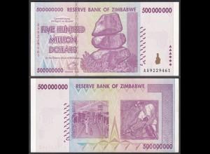 Simbabwe - Zimbabwe 500 Millionen Dollars 2008 Pick 82 UNC (1) (23855