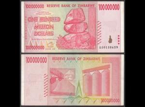 Simbabwe - Zimbabwe 100 Millionen Dollars 2008 Pick 80 XF (2) (23857