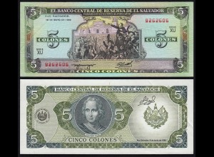 EL SALVADOR - 5 COLONES Banknote 1990 Pick 138 XF (2) (23875