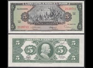 EL SALVADOR - 5 COLONES 1980 Pick 132A UNC (1) Serie AM (23886