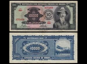 BRASILIEN - BRAZIL 10 Cruzeiros auf 10000 Cruzeiros VF (3) Pick 189b (23892
