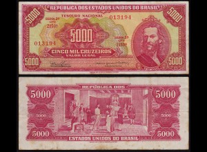BRASILIEN - BRAZIL 5000 Cruzeiros Banknote (1965) F+ (4+) Pick 182A (23896