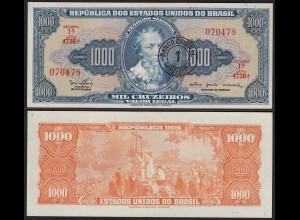 BRASILIEN - BRAZIL 1 Cr. auf 1000 Cruzeiros (1966-67) UNC (1) Pick 187b (23900