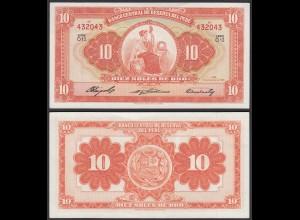 PERU 10 Soles Banknote 1958 Pick 82 UNC (1) (23918
