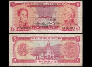 Venezuela 5 Bolivares Banknote 1970 F (4) Pick 50d (23940