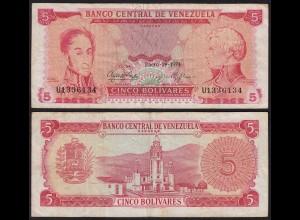 Venezuela 5 Bolivares Banknote 1974 VF- (3-) Pick 50h (23942