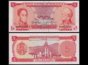 Venezuela 5 Bolivares Banknote 1974 aUNC (1-) Pick 50h (23943
