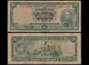 Venezuela 20 Bolivares Banknote 1972 F- (4-) Pick 52b (23945