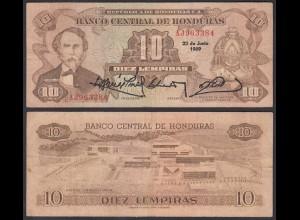 HONDURAS 10 LEMPIRAS BANKNOTE 1989 Pick 64b VF (3) (23959