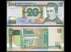HONDURAS 20 LEMPIRAS BANKNOTE 1994 Pick 73c UNC (1) (23961