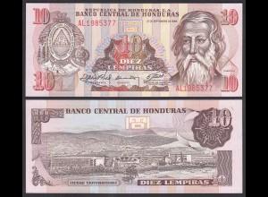 HONDURAS 10 LEMPIRAS BANKNOTE 1989 Pick 70 UNC (1) (23962